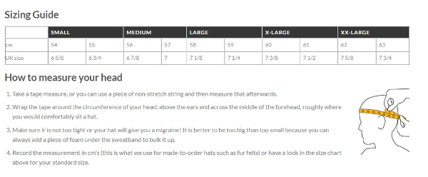 hat sizing guide - Hills Hats-870