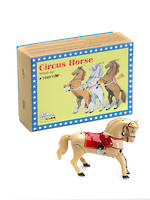 Tin wind-up circus horse - yellow