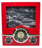 Retro photo frame, clock and thermometre
